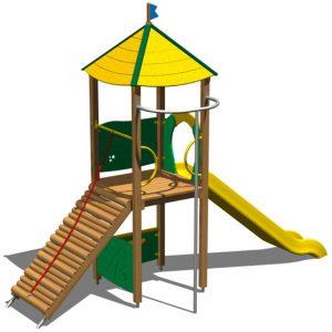 tobogan y torre de madera para parques infantiles TO222 speedcourts
